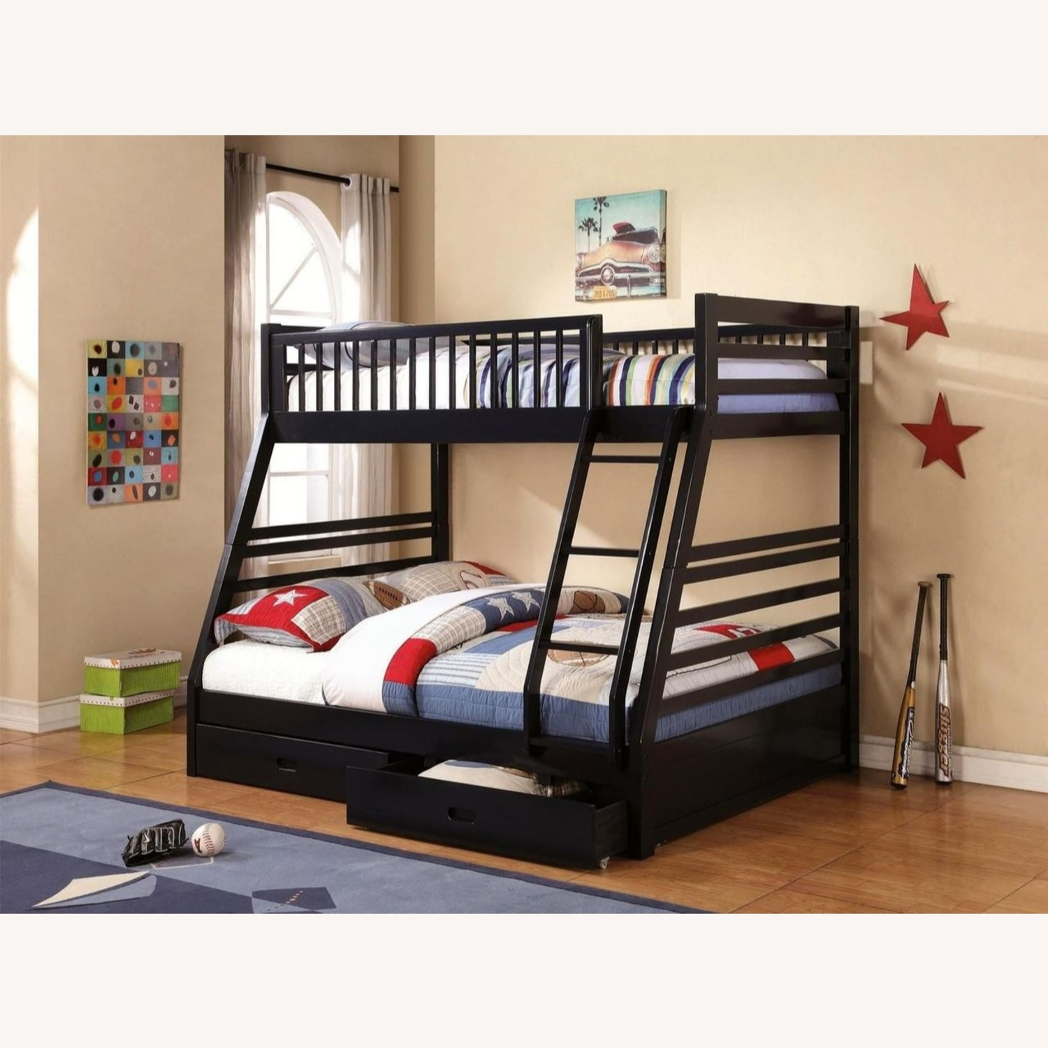 Twin Over Full Bunk Bed In Sleek Navy Blue Finish - image-2