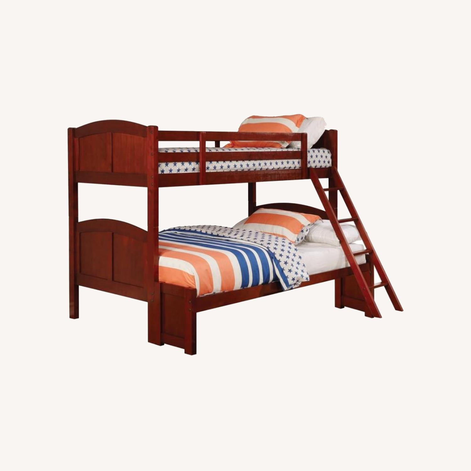 Twin Over Full Bunk Bed In Warm Chestnut Finish - image-3