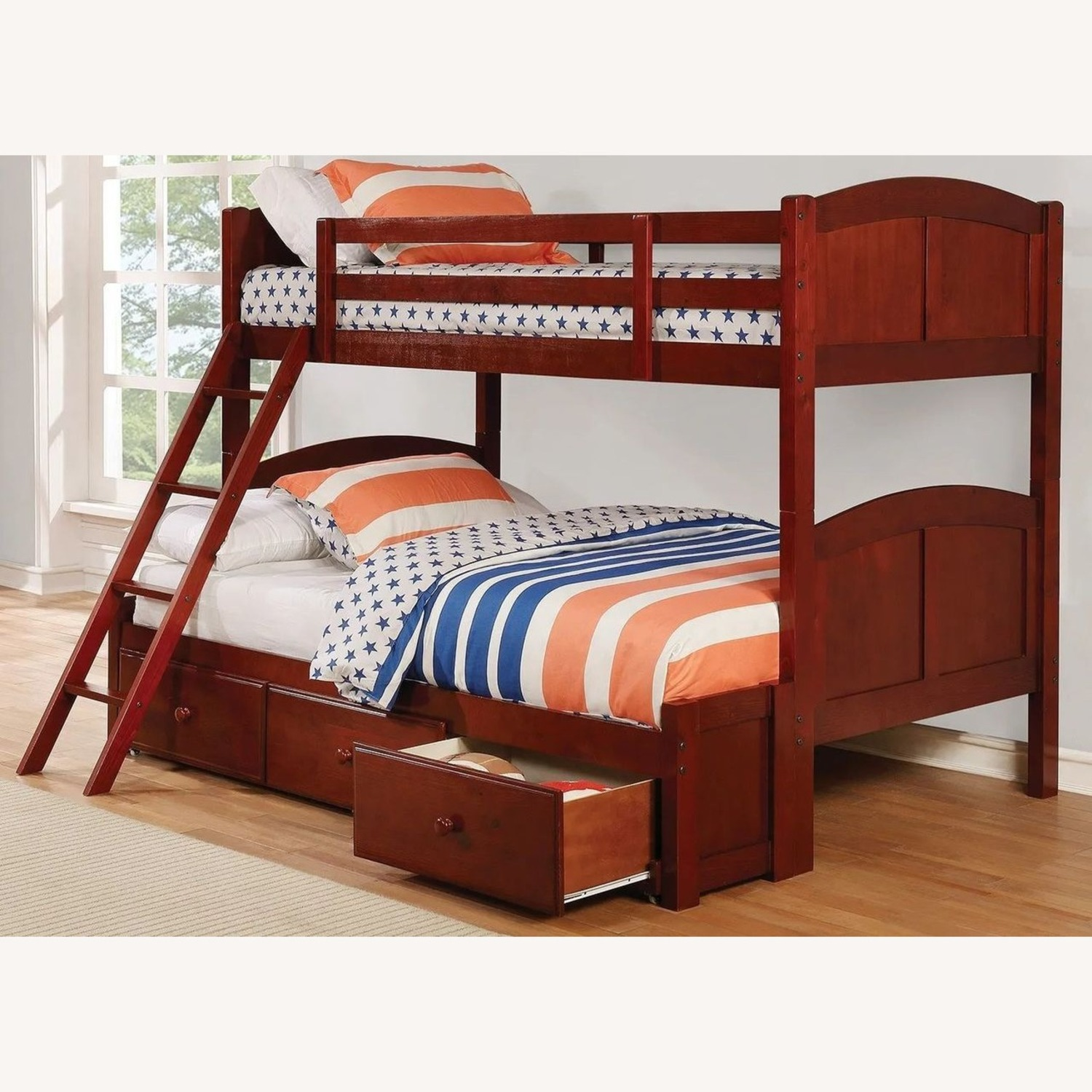 Twin Over Full Bunk Bed In Warm Chestnut Finish - image-2