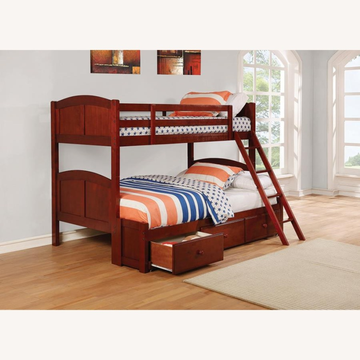 Twin Over Full Bunk Bed In Warm Chestnut Finish - image-1