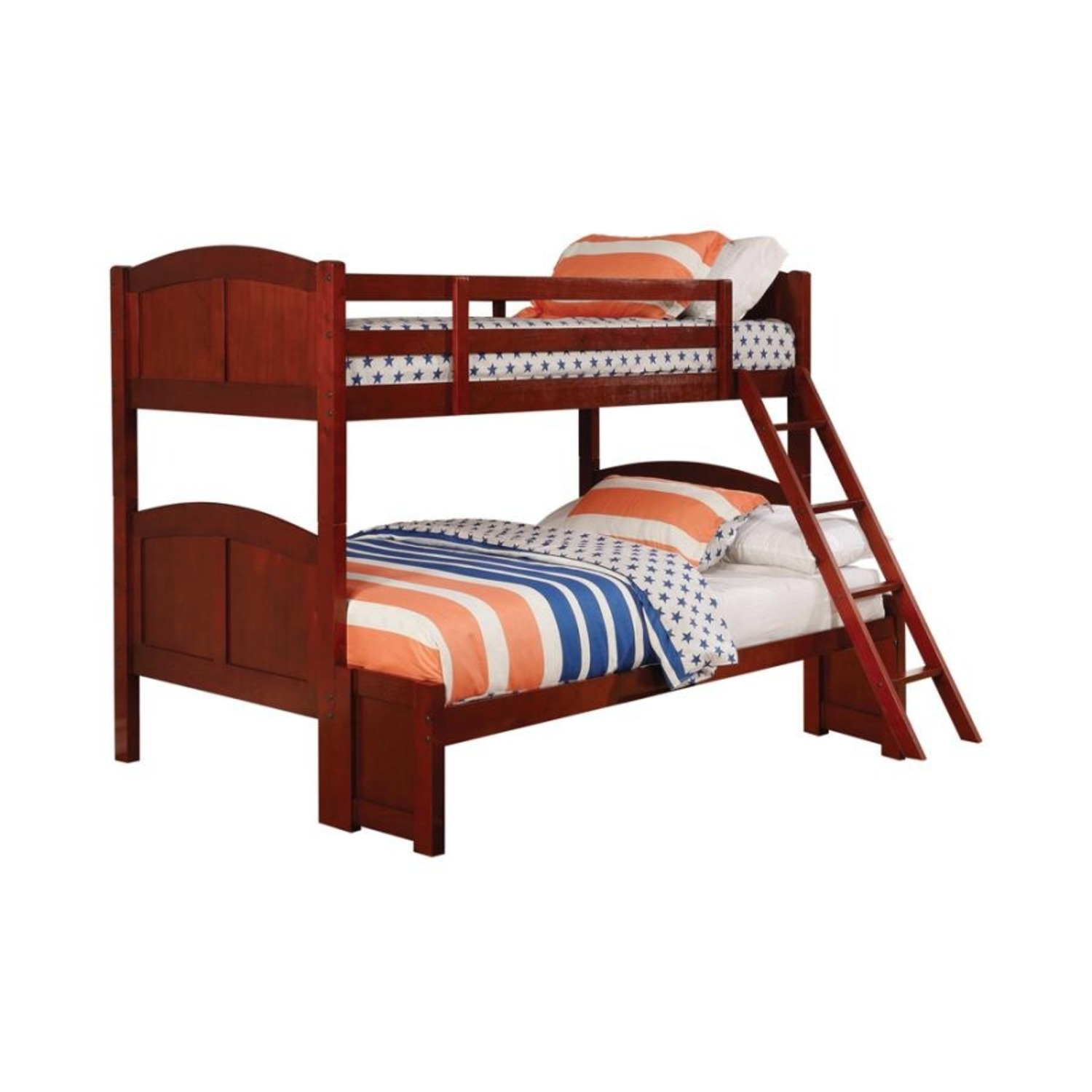Twin Over Full Bunk Bed In Warm Chestnut Finish - image-0
