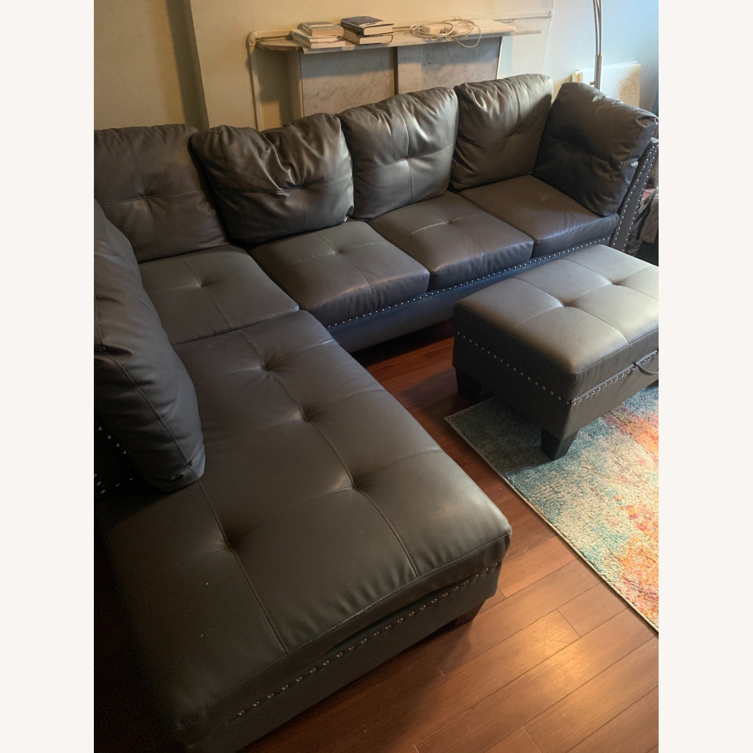 Wayfair Blue Sectional with Storage Ottoman - image-2