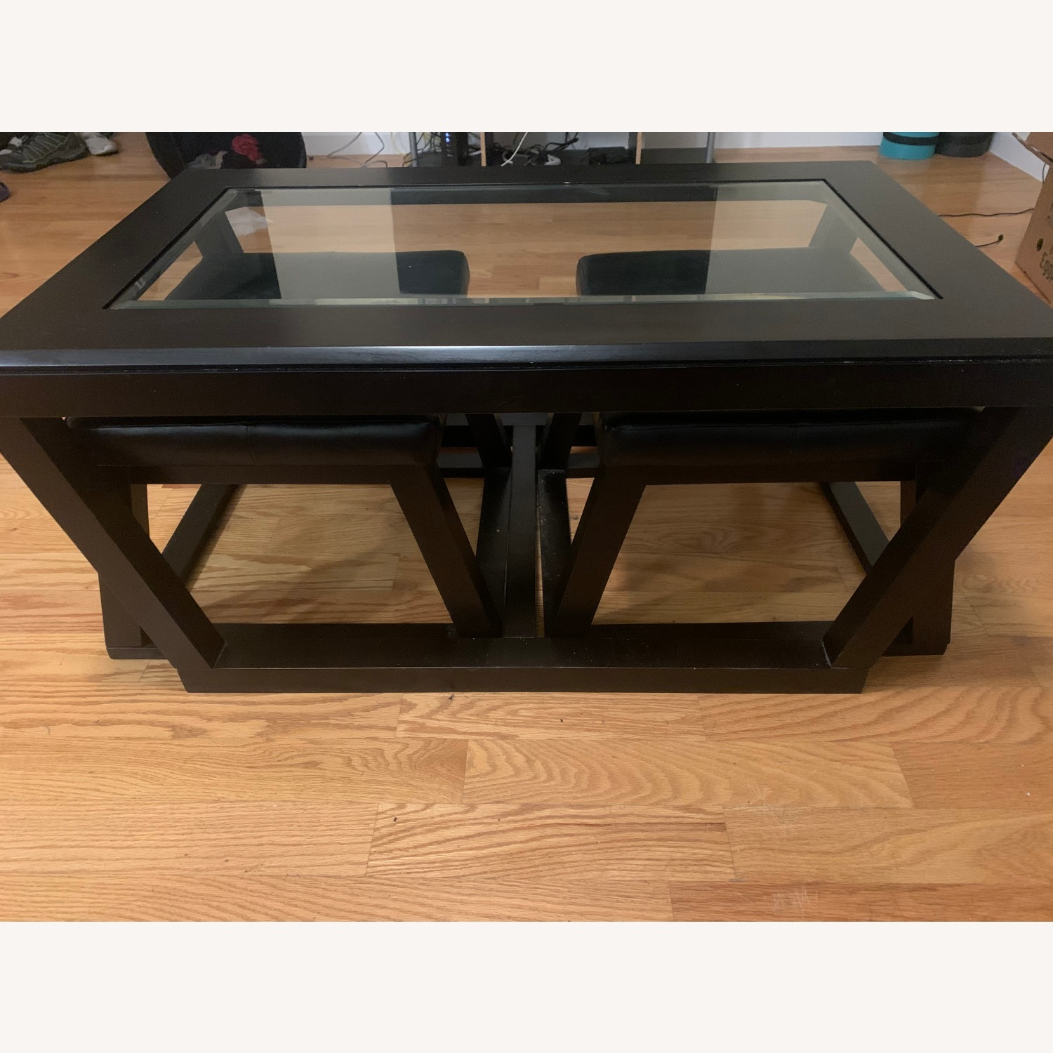 Ashley Glass Top Coffee Table with 2 Stools - image-2