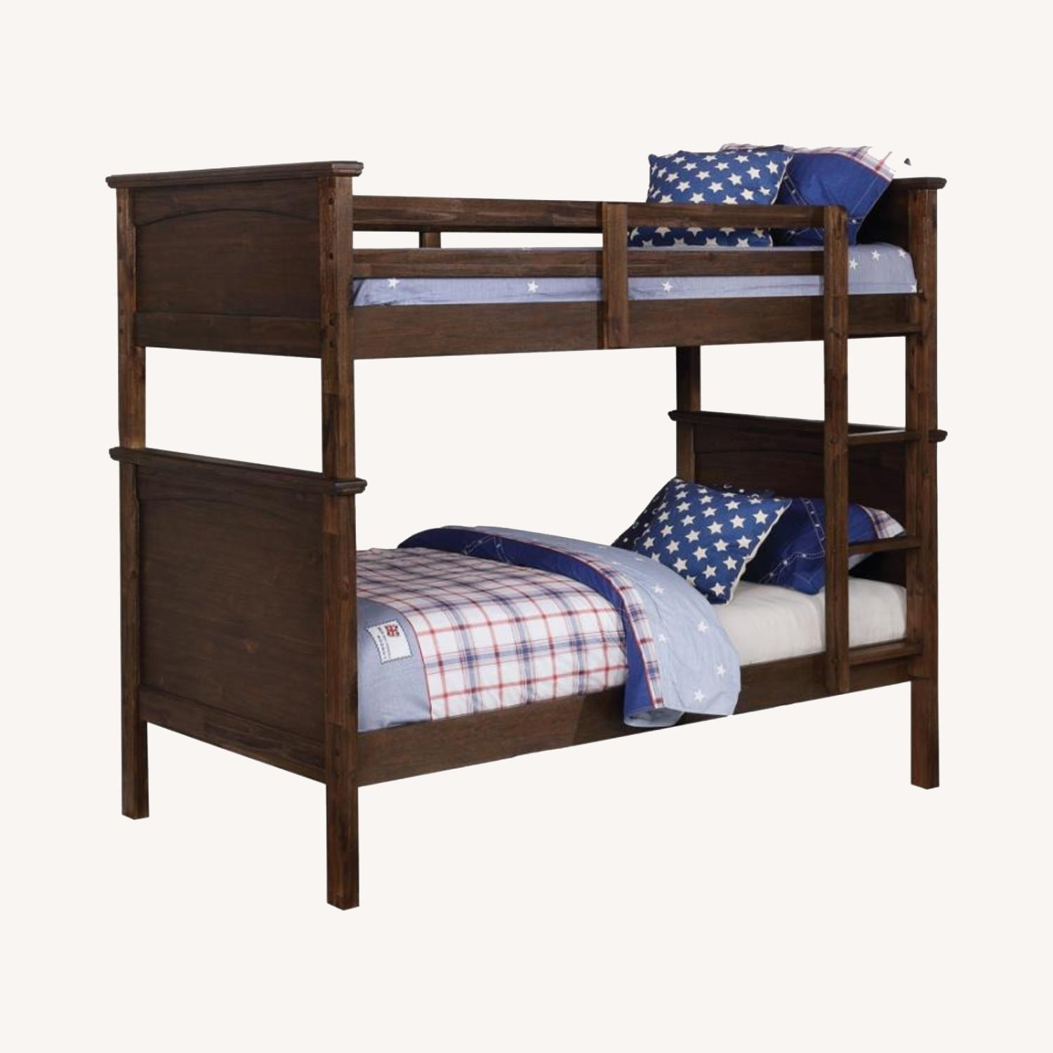 Twin Over Twin Bunk Bed In Country Brown Finish - image-3