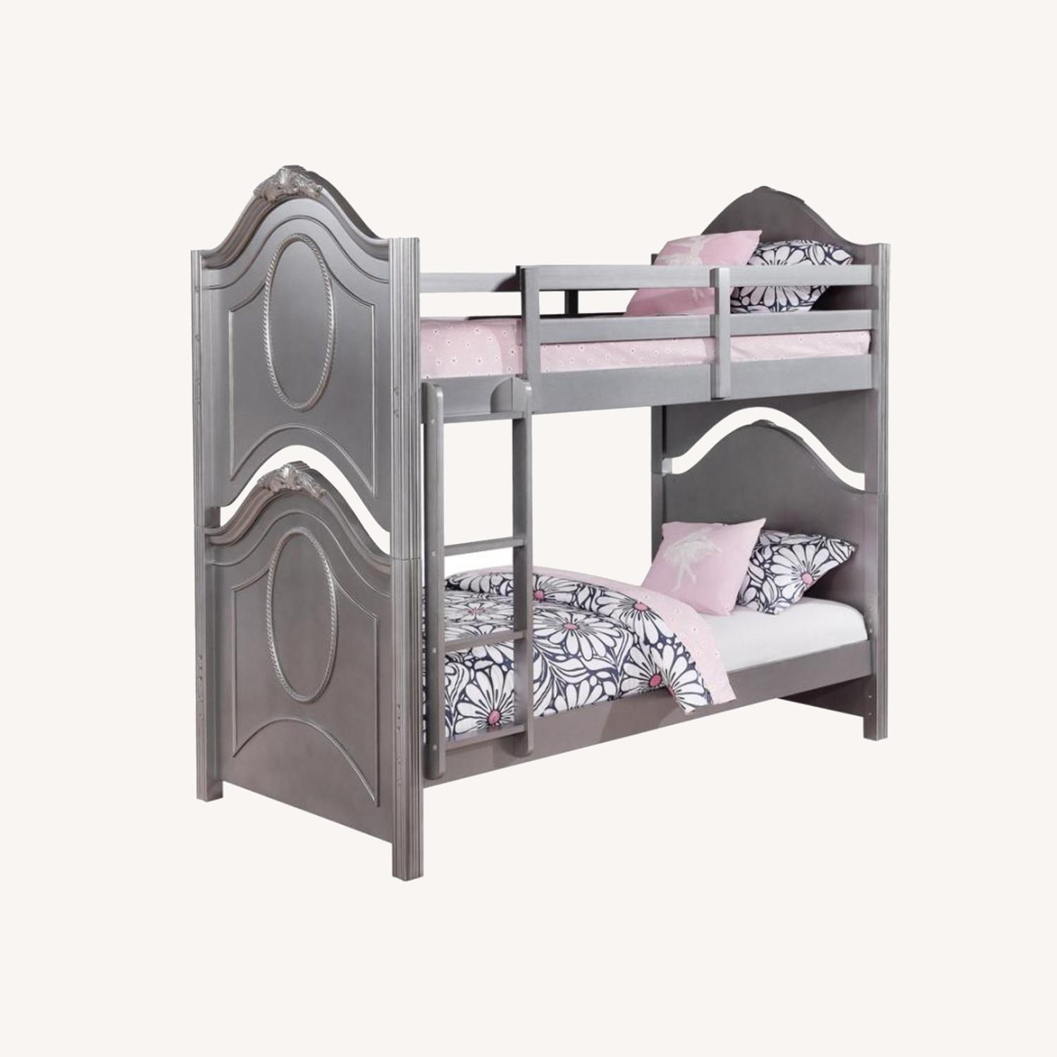 Twin Over Twin Bunk Bed In Metallic Pewter Finish - image-4