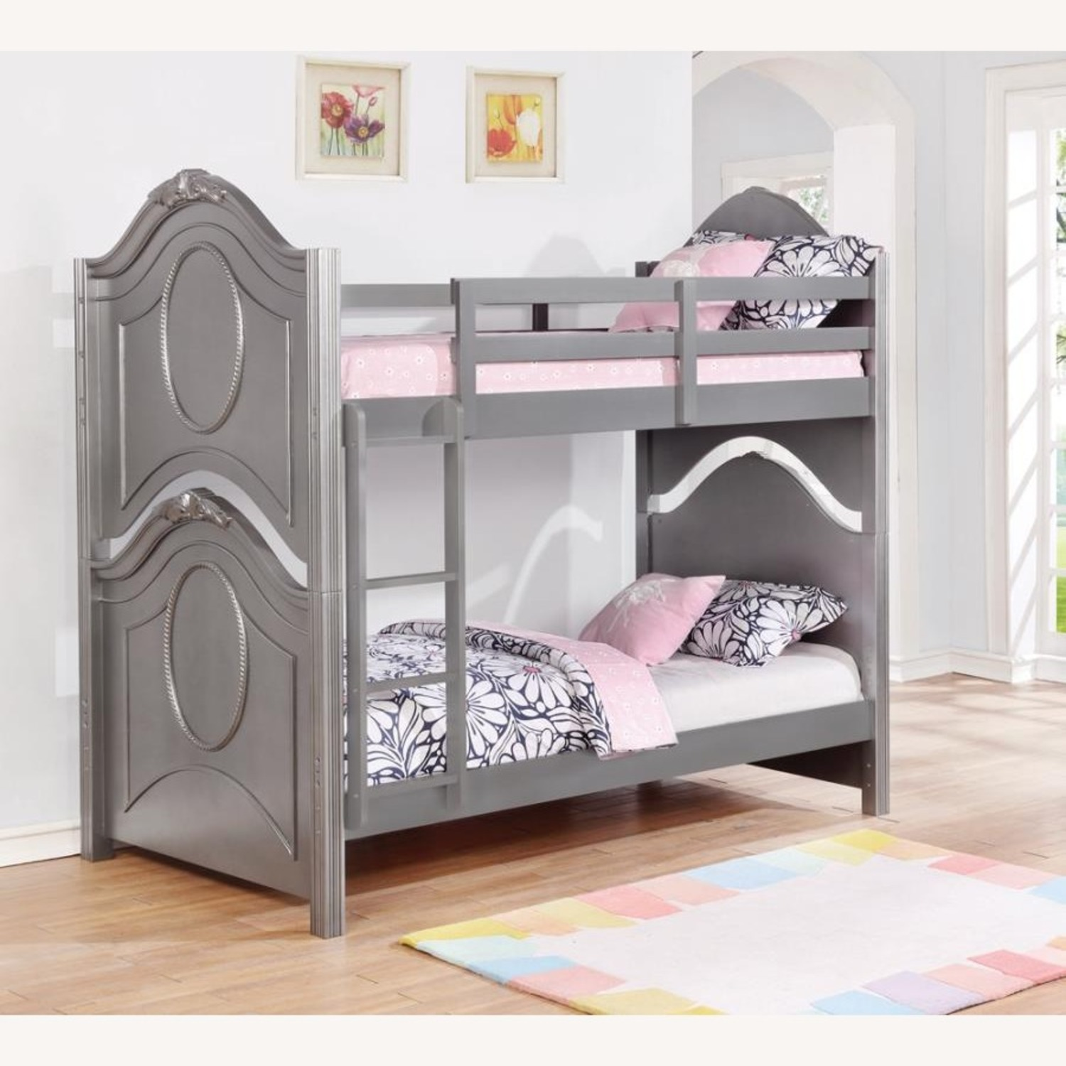 Twin Over Twin Bunk Bed In Metallic Pewter Finish - image-3