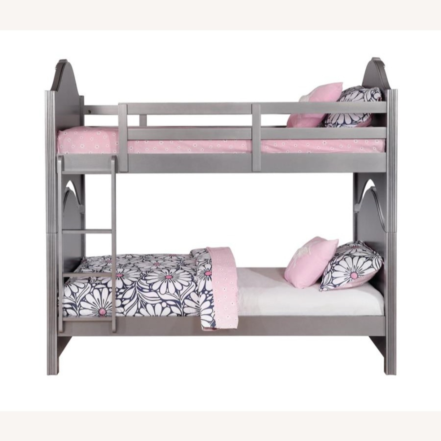 Twin Over Twin Bunk Bed In Metallic Pewter Finish - image-1