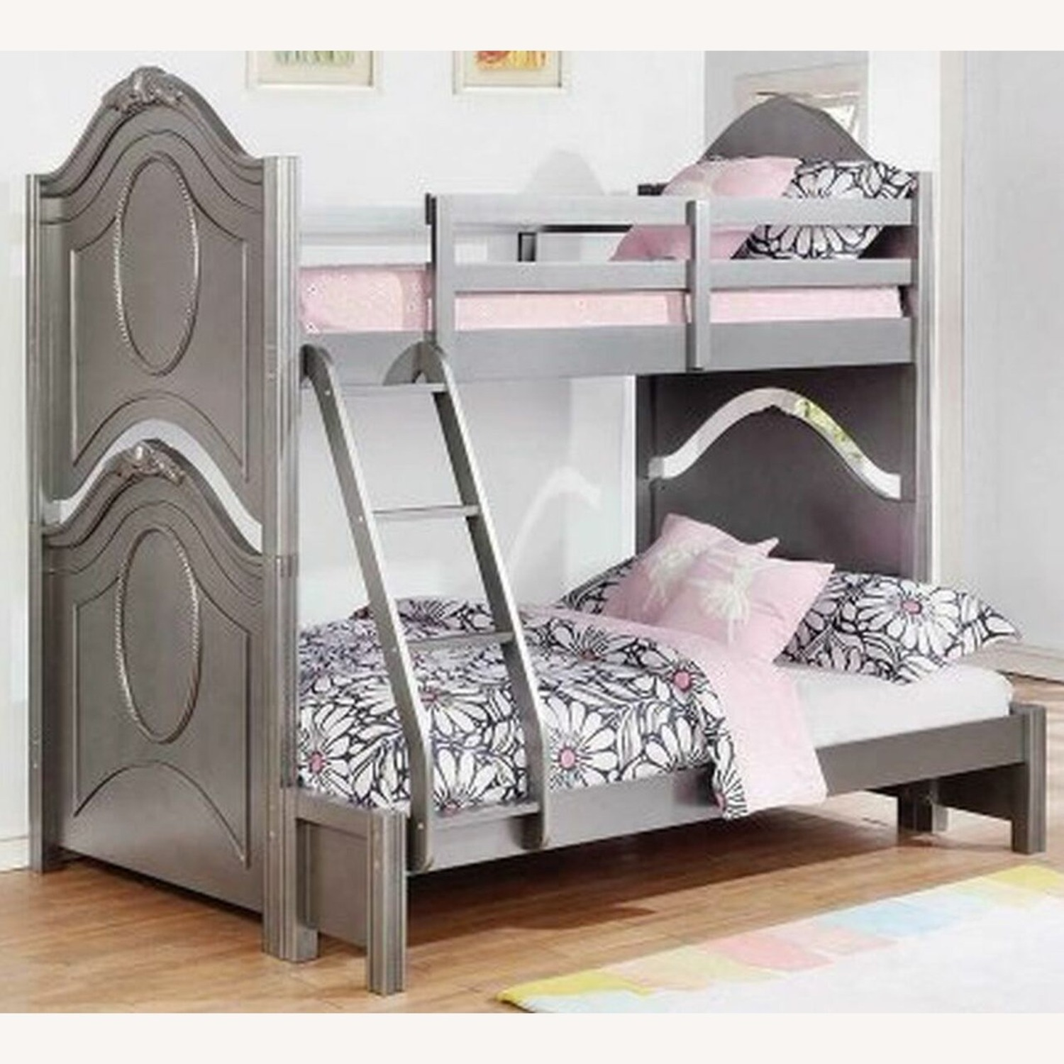 Twin Over Full Bunk Bed In Metallic Pewter Finish - image-1
