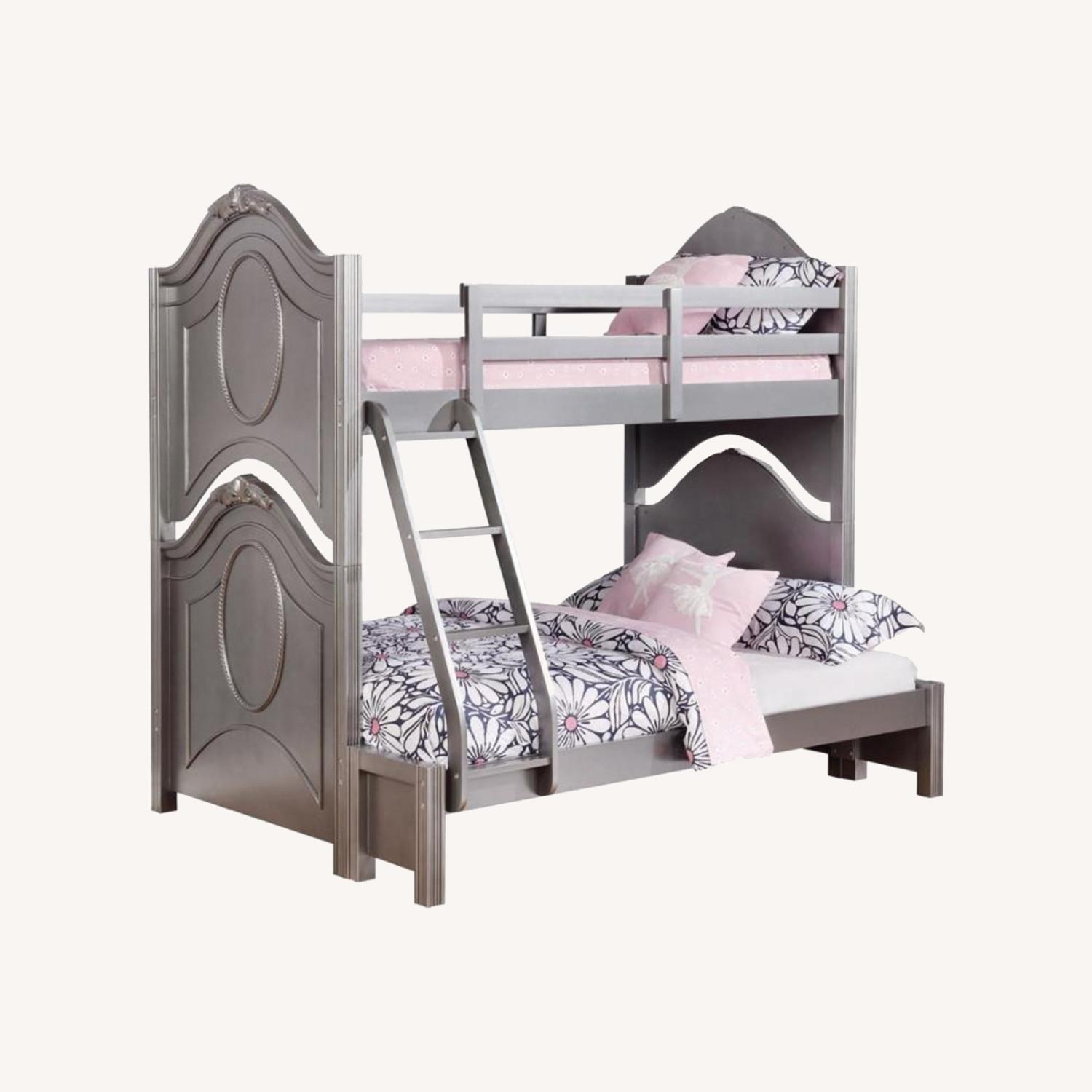 Twin Over Full Bunk Bed In Metallic Pewter Finish - image-3