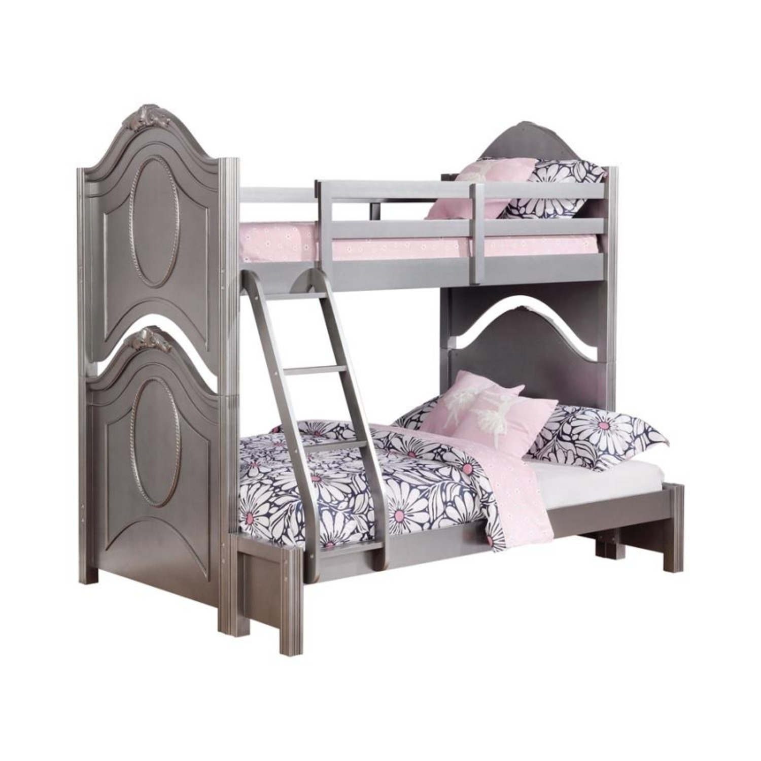 Twin Over Full Bunk Bed In Metallic Pewter Finish - image-0