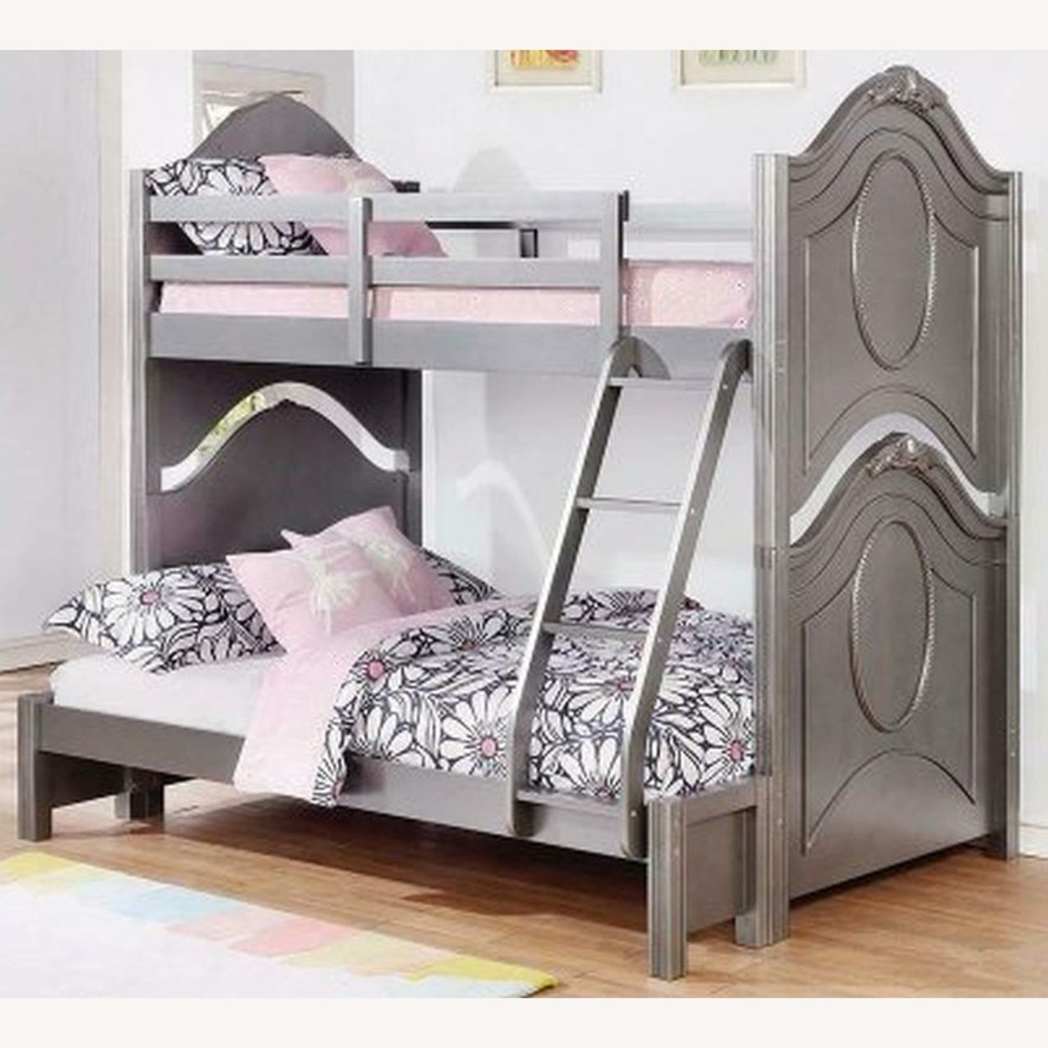 Twin Over Full Bunk Bed In Metallic Pewter Finish - image-2