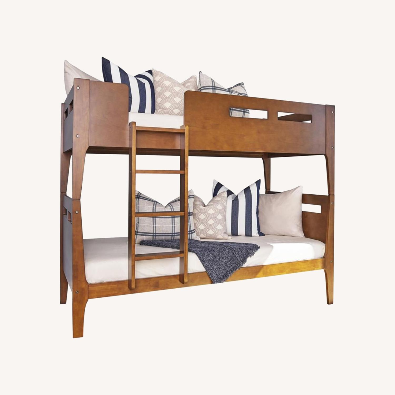 Modern Wood Bunk Bed In Walnut Finish - image-5