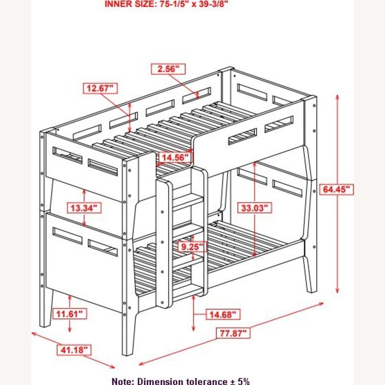 Modern Wood Bunk Bed In Walnut Finish - image-6
