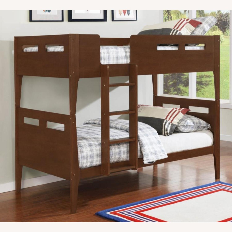 Modern Wood Bunk Bed In Walnut Finish - image-3
