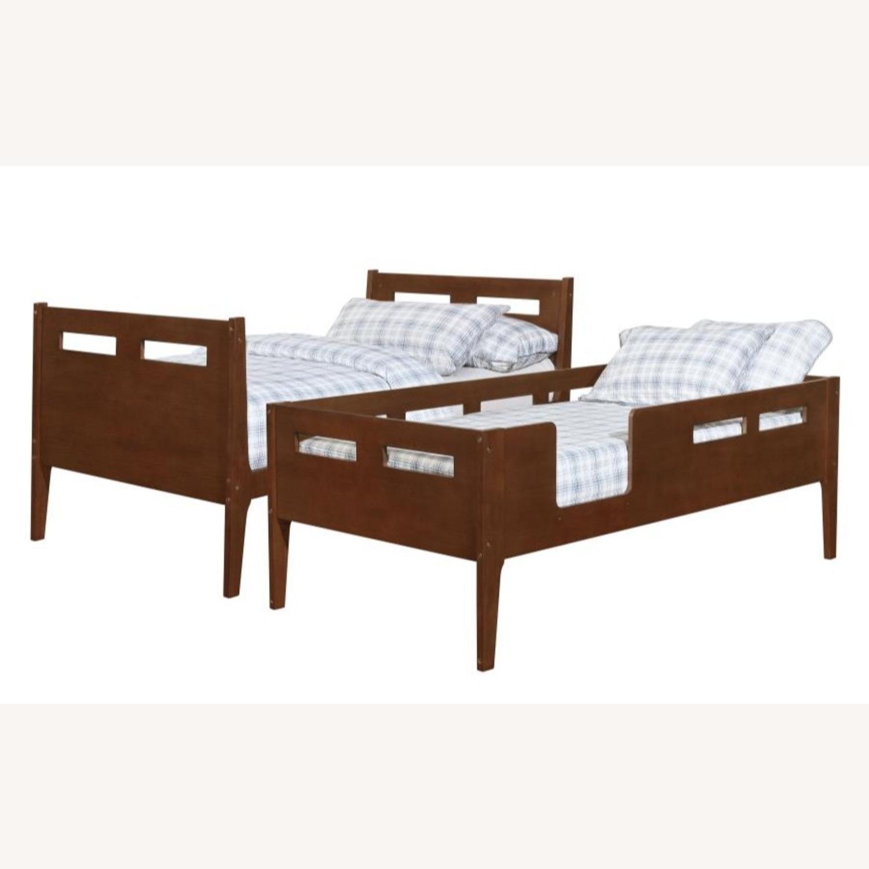 Modern Wood Bunk Bed In Walnut Finish - image-0