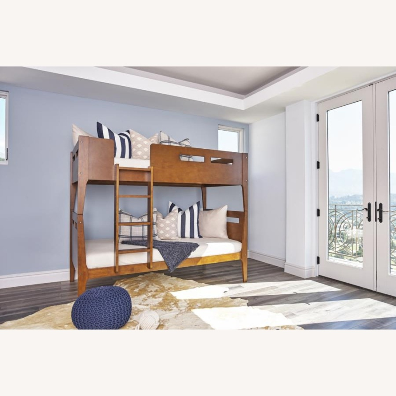 Modern Wood Bunk Bed In Walnut Finish - image-4