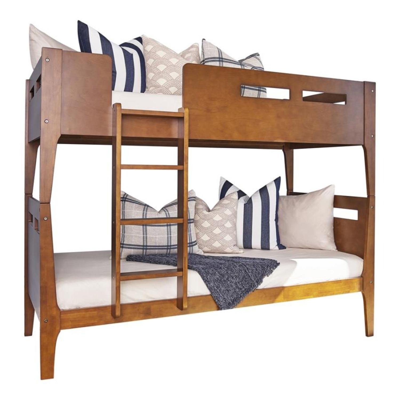Modern Wood Bunk Bed In Walnut Finish - image-1