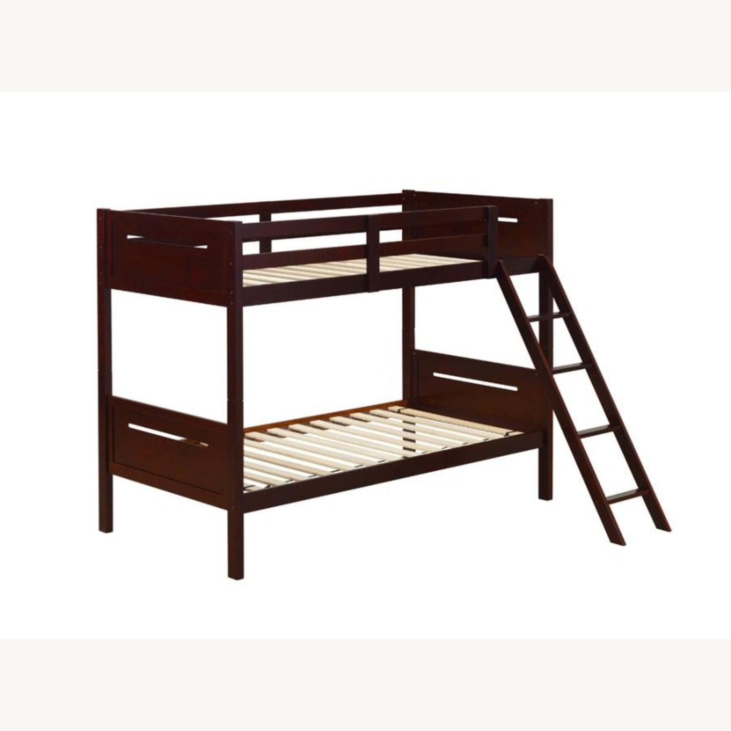 Bunk Bed In Espresso Solid Rubberwood Finish - image-1