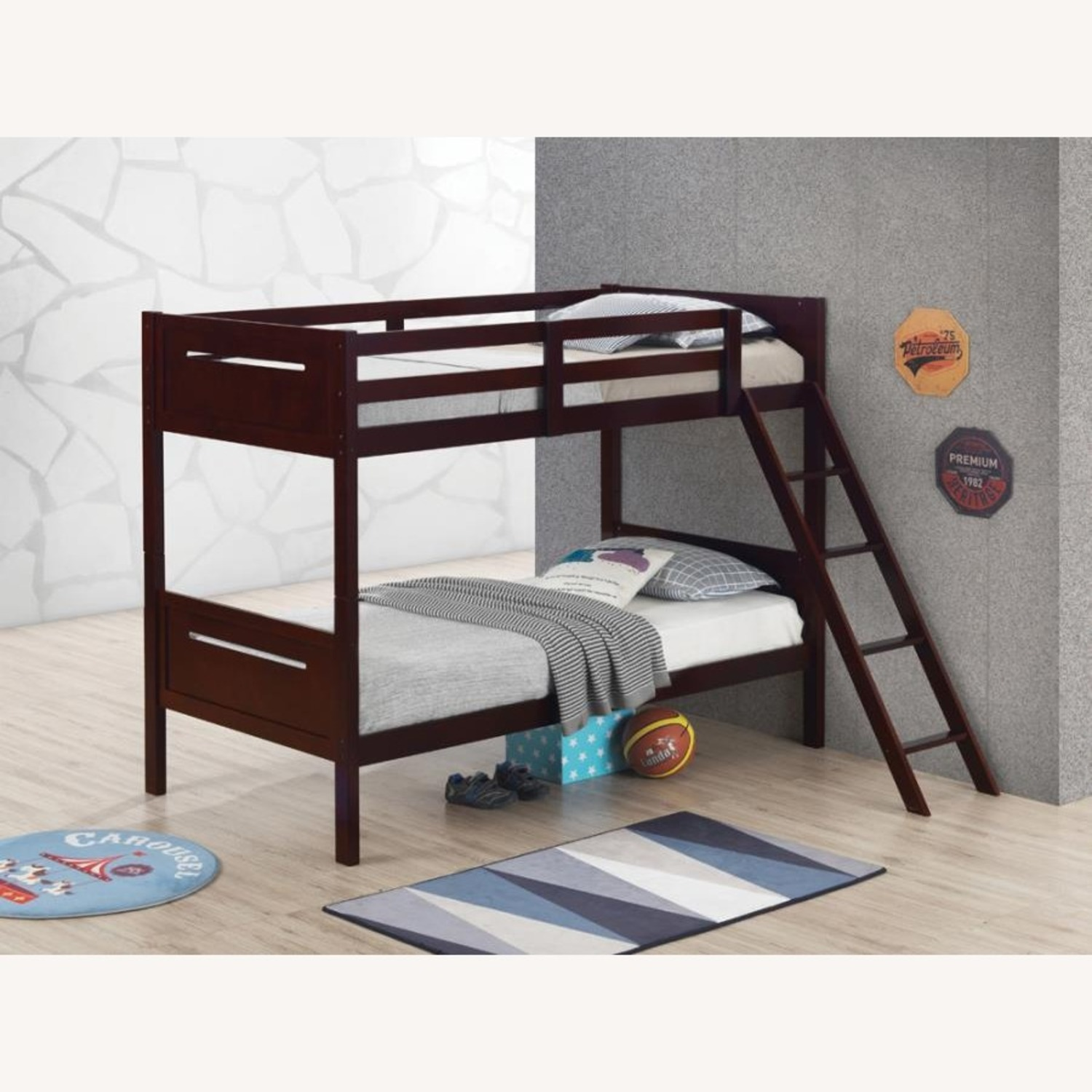 Bunk Bed In Espresso Solid Rubberwood Finish - image-4