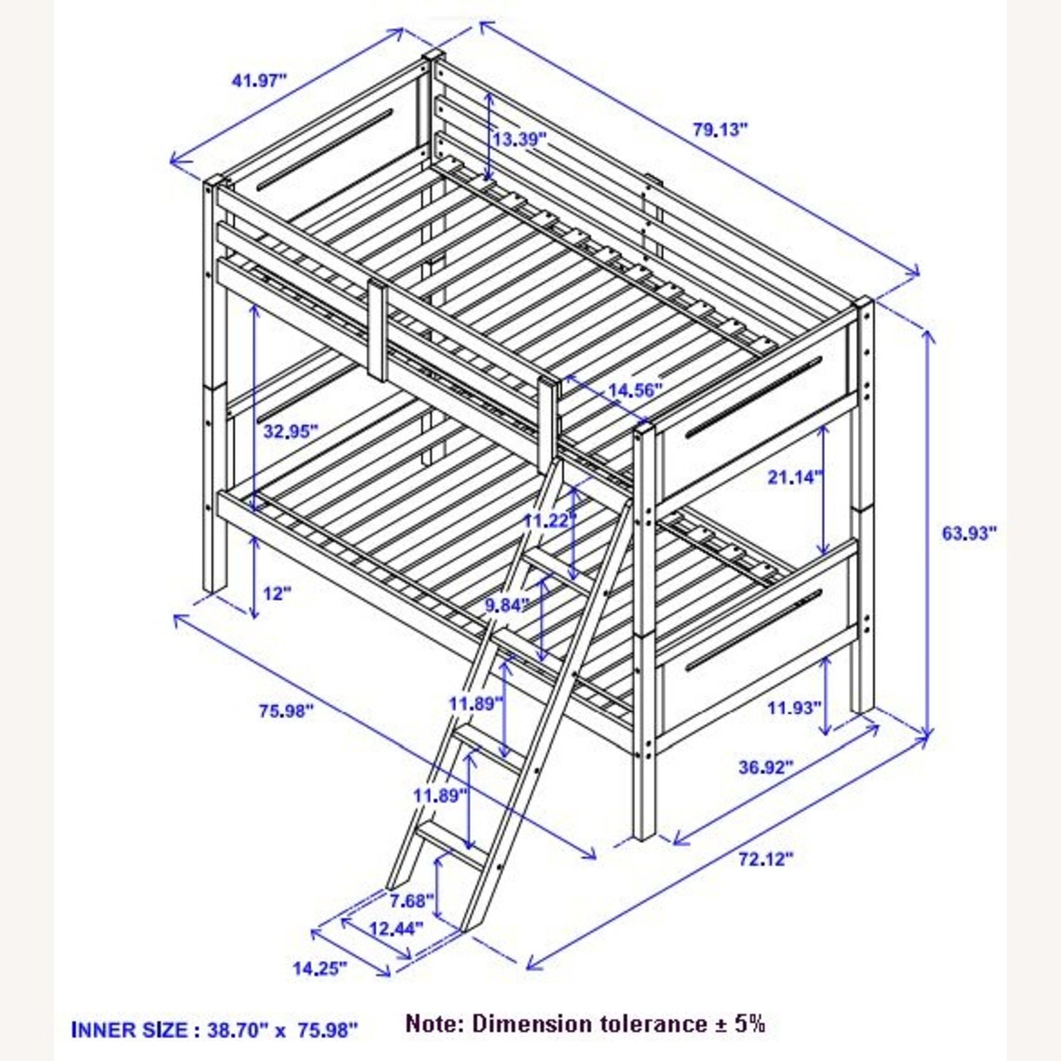 Twin Over Full Bunk Bed In Rubberwood Espresso - image-5