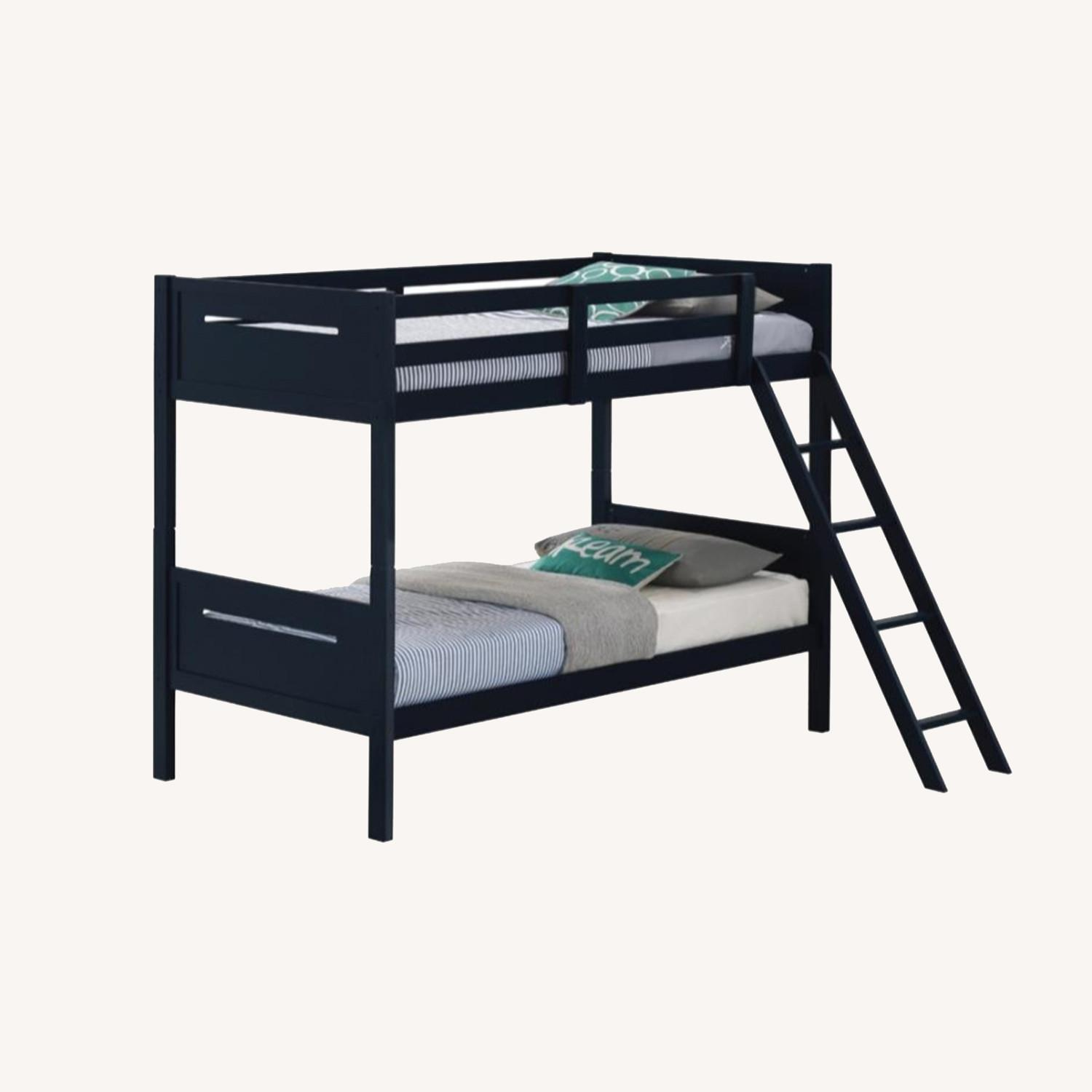 Bunk Bed In Blue Solid Rubberwood Finish - image-5