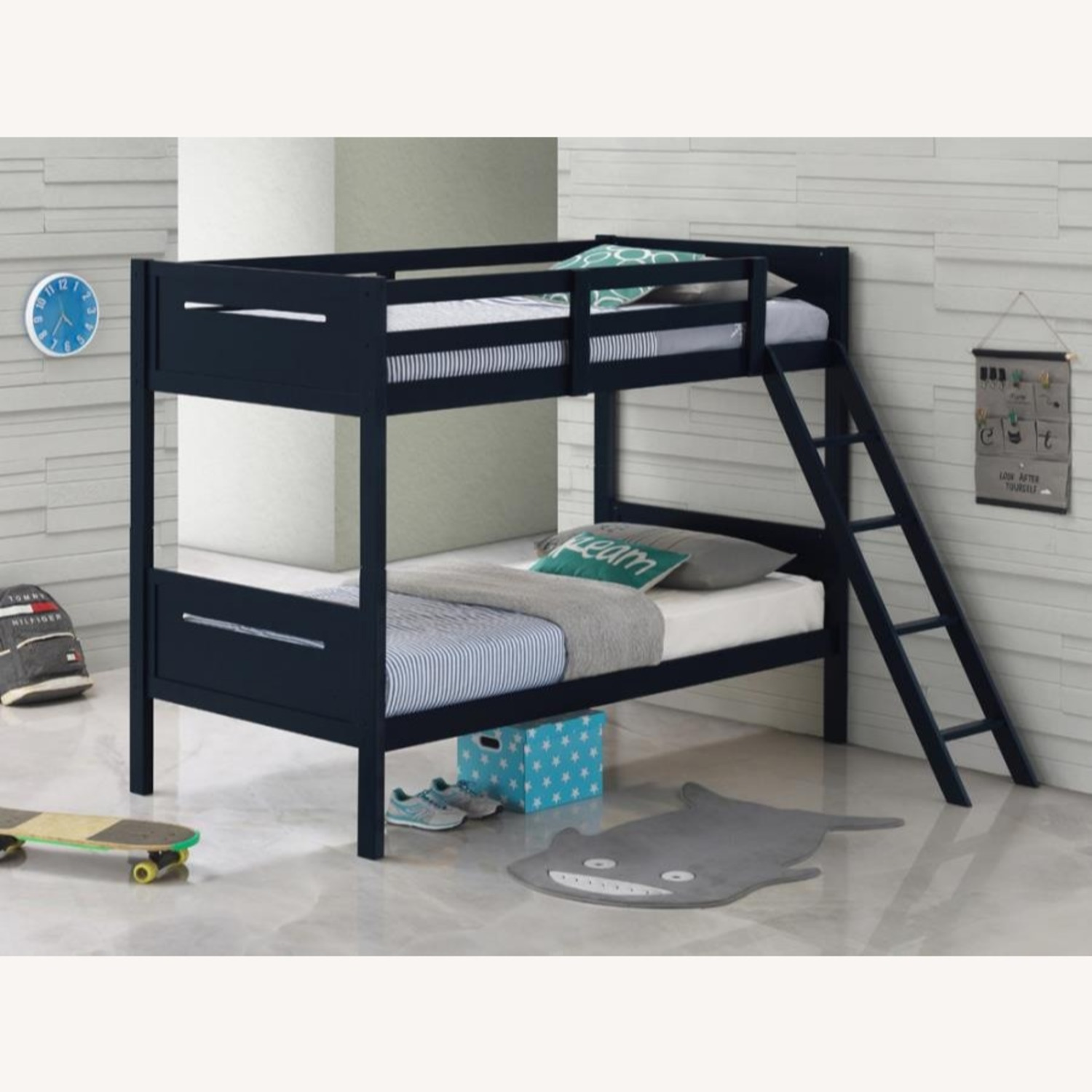 Bunk Bed In Blue Solid Rubberwood Finish - image-4