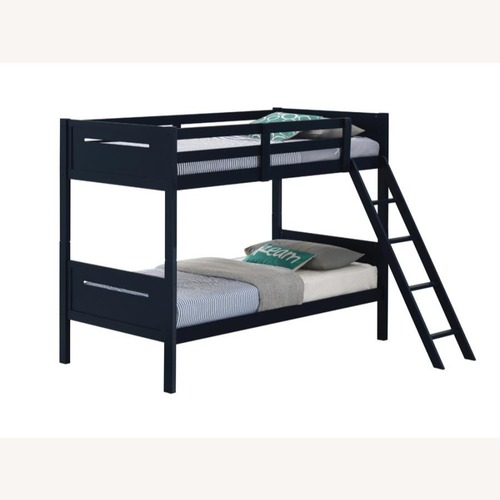 Twin Over Full Bunk Bed In Rubberwood Blue Finish Aptdeco