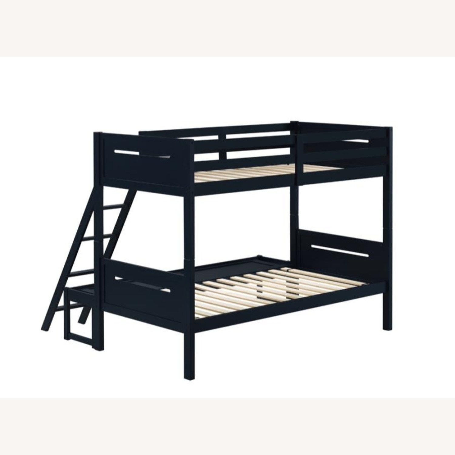 Twin Over Full Bunk Bed In Rubberwood Blue Finish - image-2