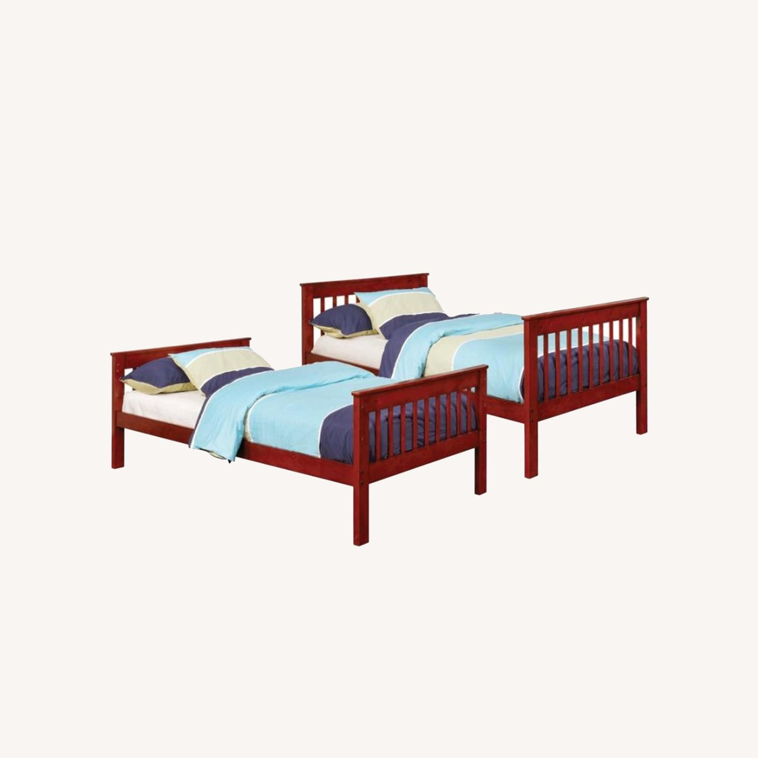 Bunk Bed In Chestnut W/ Slatted Head & Footboards - image-3