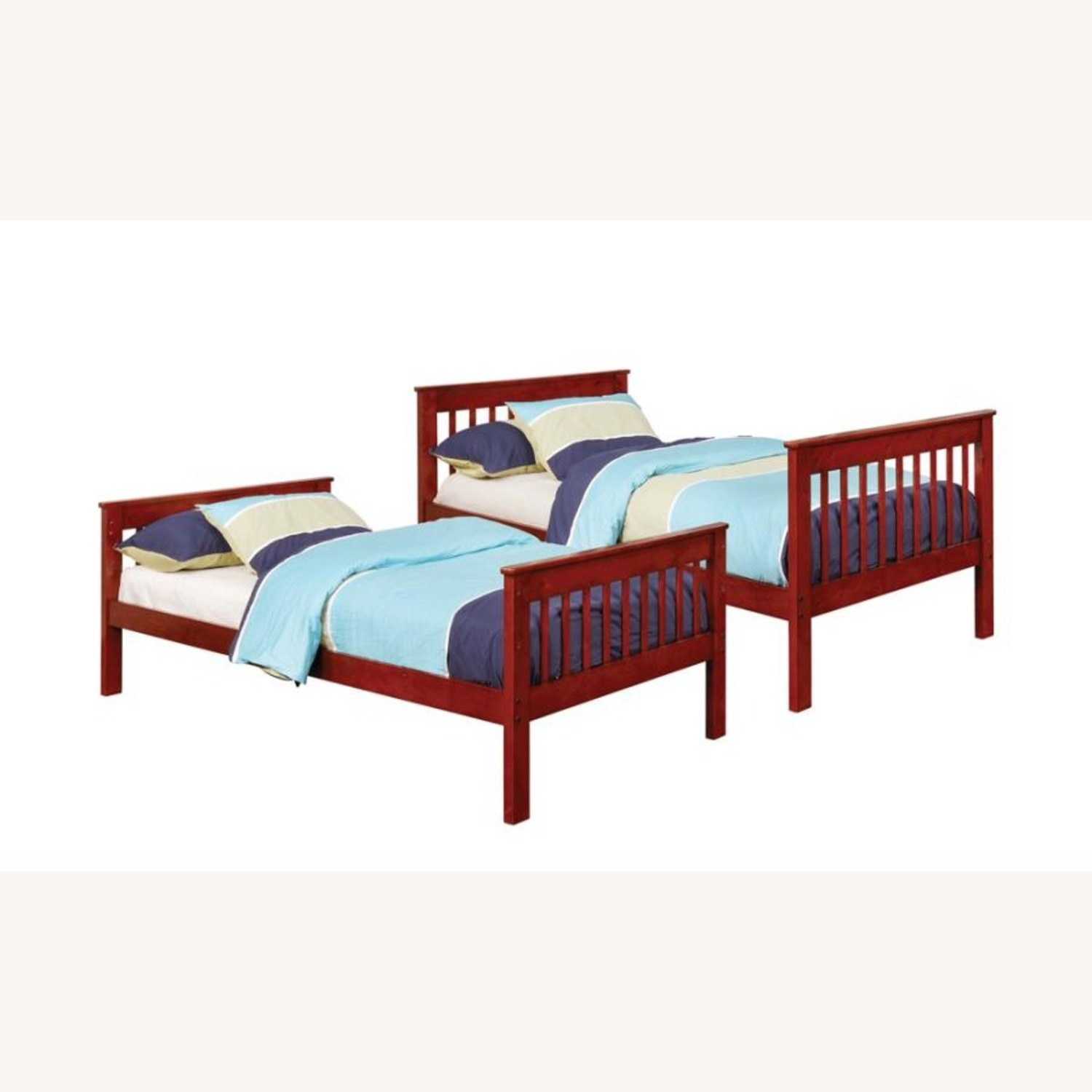 Bunk Bed In Chestnut W/ Slatted Head & Footboards - image-0