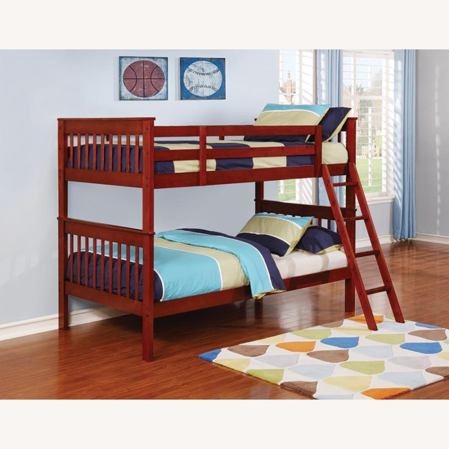 Bunk Bed In Chestnut W/ Slatted Head & Footboards - image-1