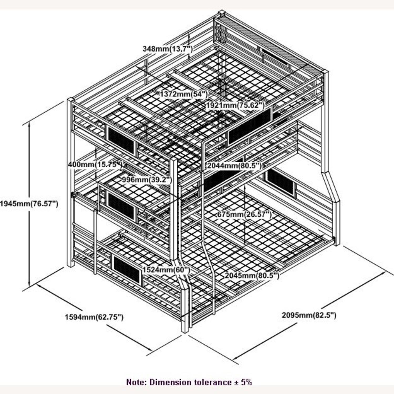 Triple Bunk Bed In Dark Bronze Metal Finish - image-7