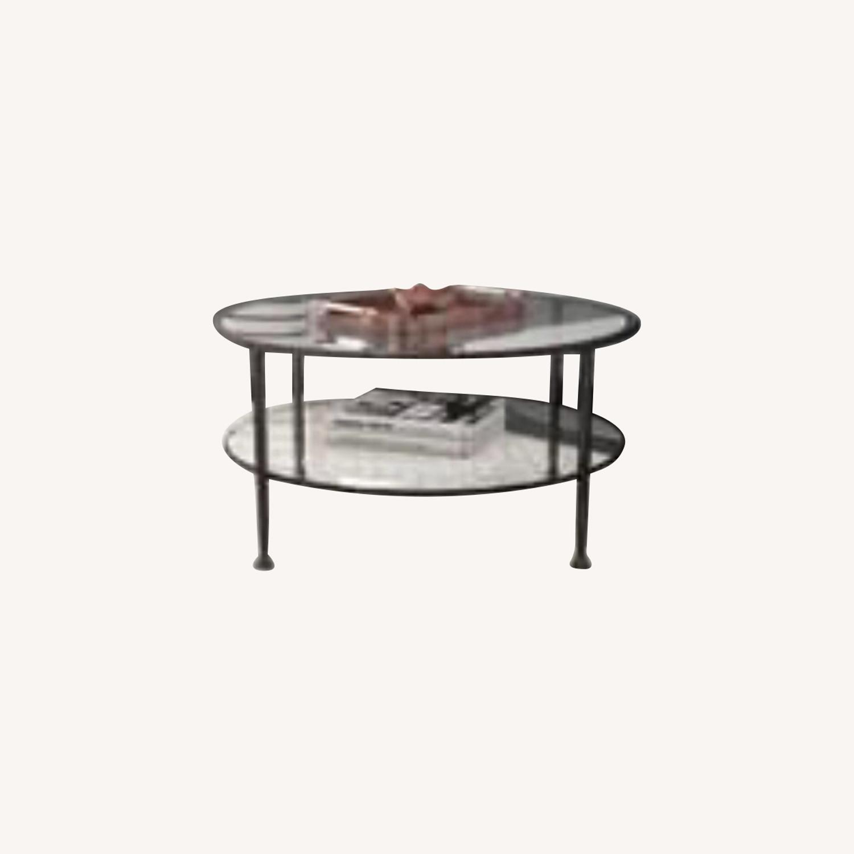Wayfair Brushed Metal 2 Tier Glass Coffee Table - image-0