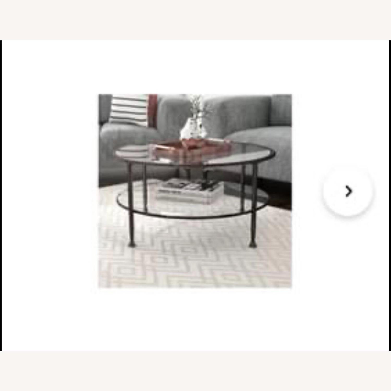 Wayfair Brushed Metal 2 Tier Glass Coffee Table - image-1