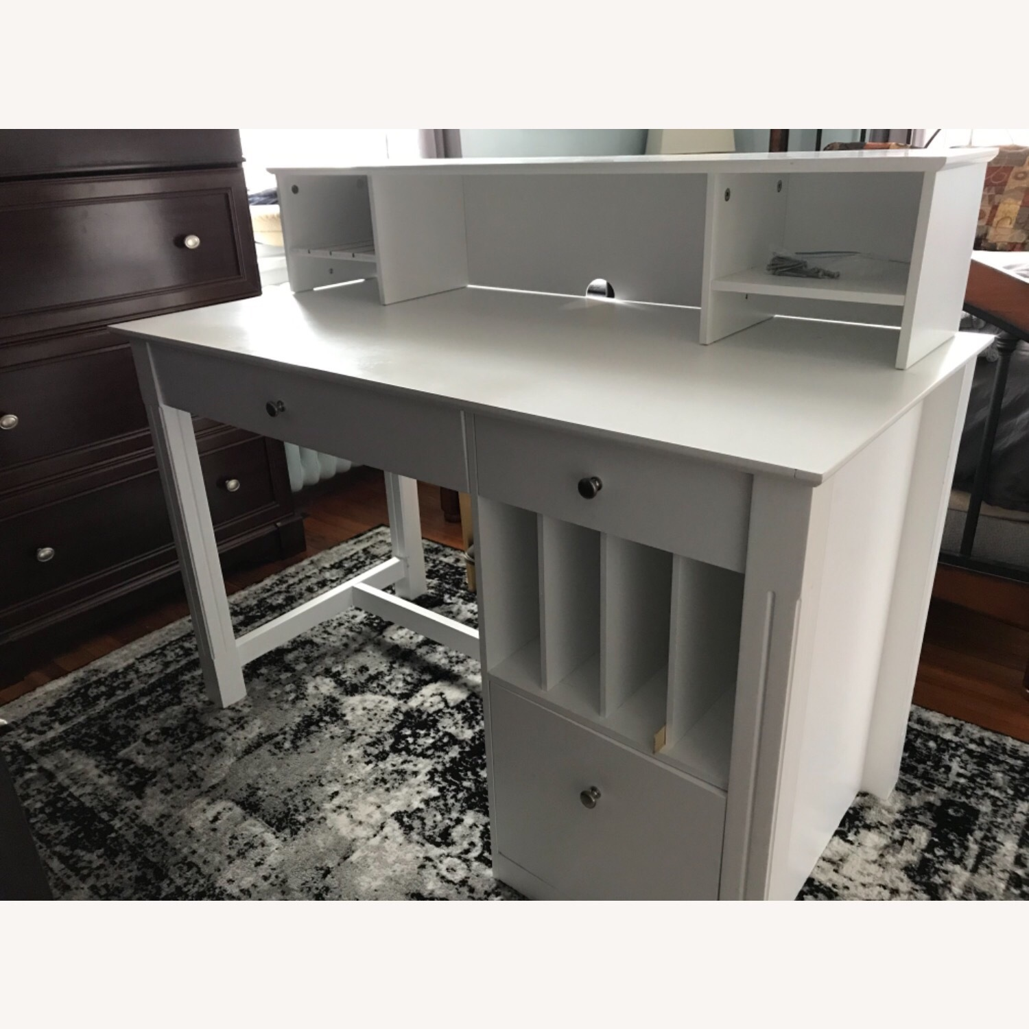 White Modern Wood Computer Desk with Hutch - image-15