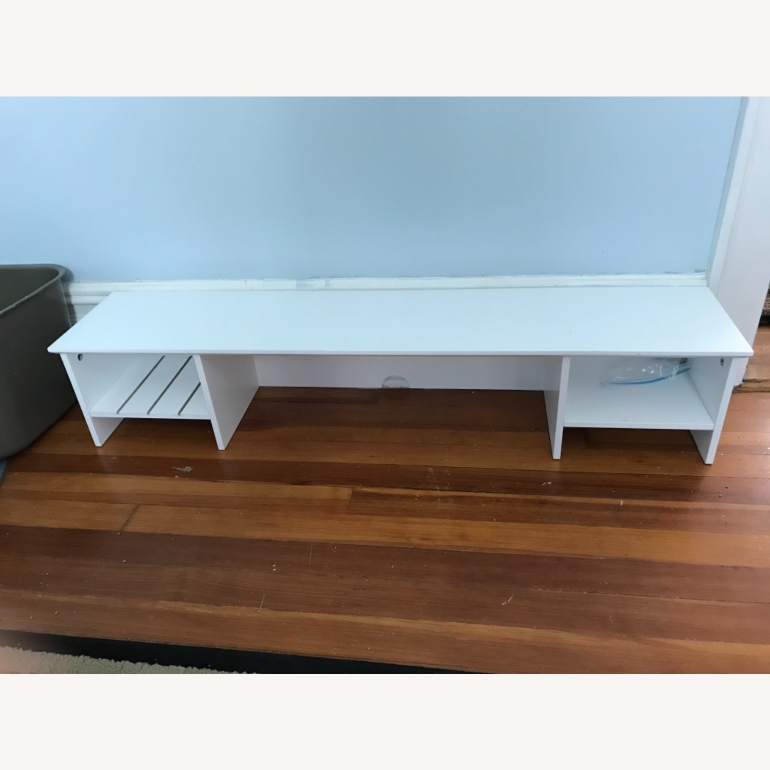 White Modern Wood Computer Desk with Hutch - image-4