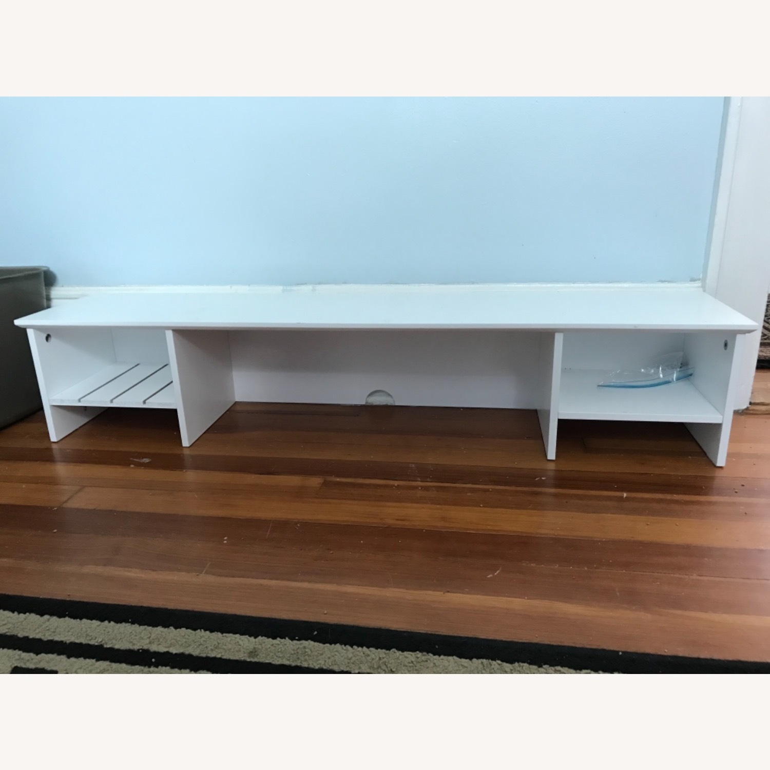 White Modern Wood Computer Desk with Hutch - image-5