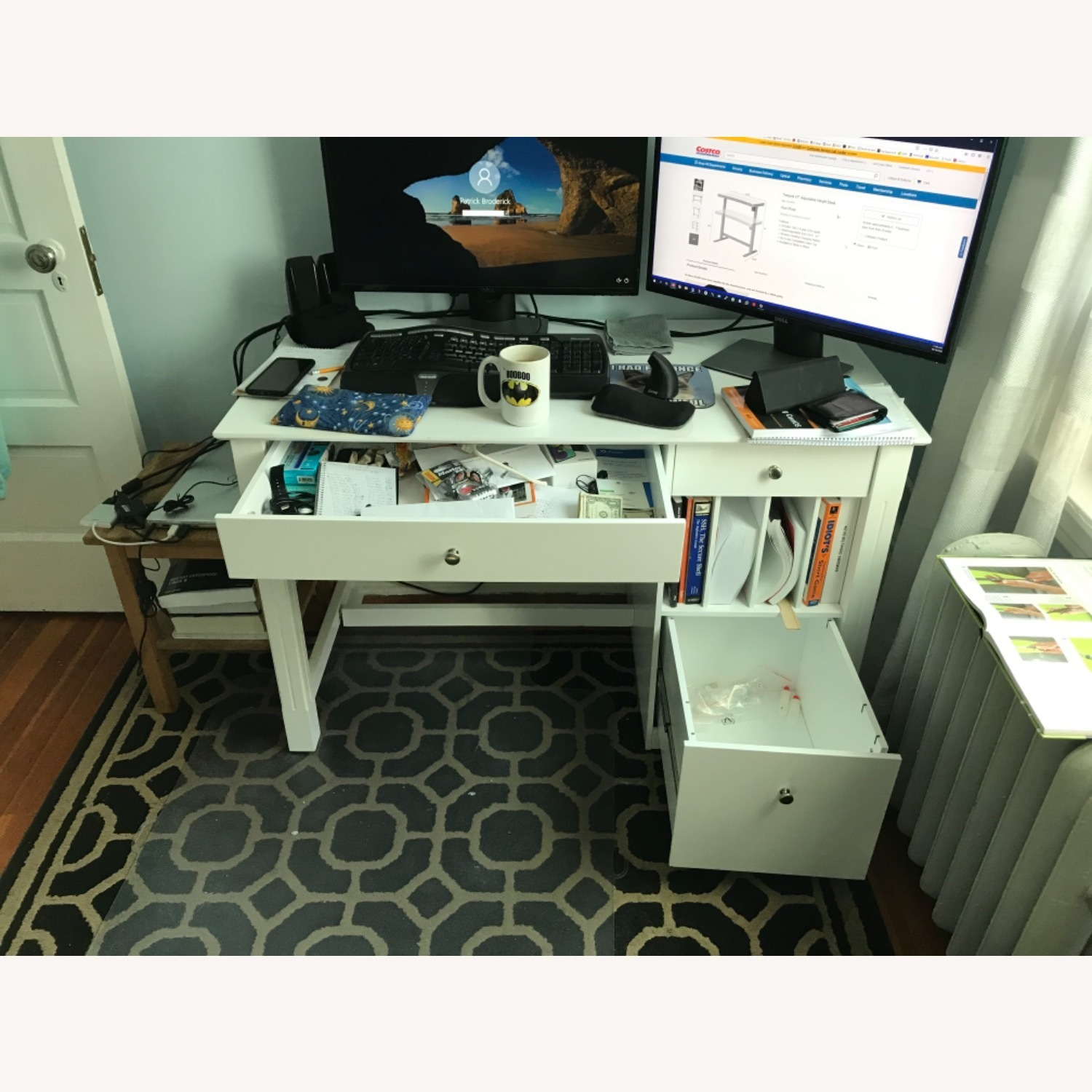 White Modern Wood Computer Desk with Hutch - image-6
