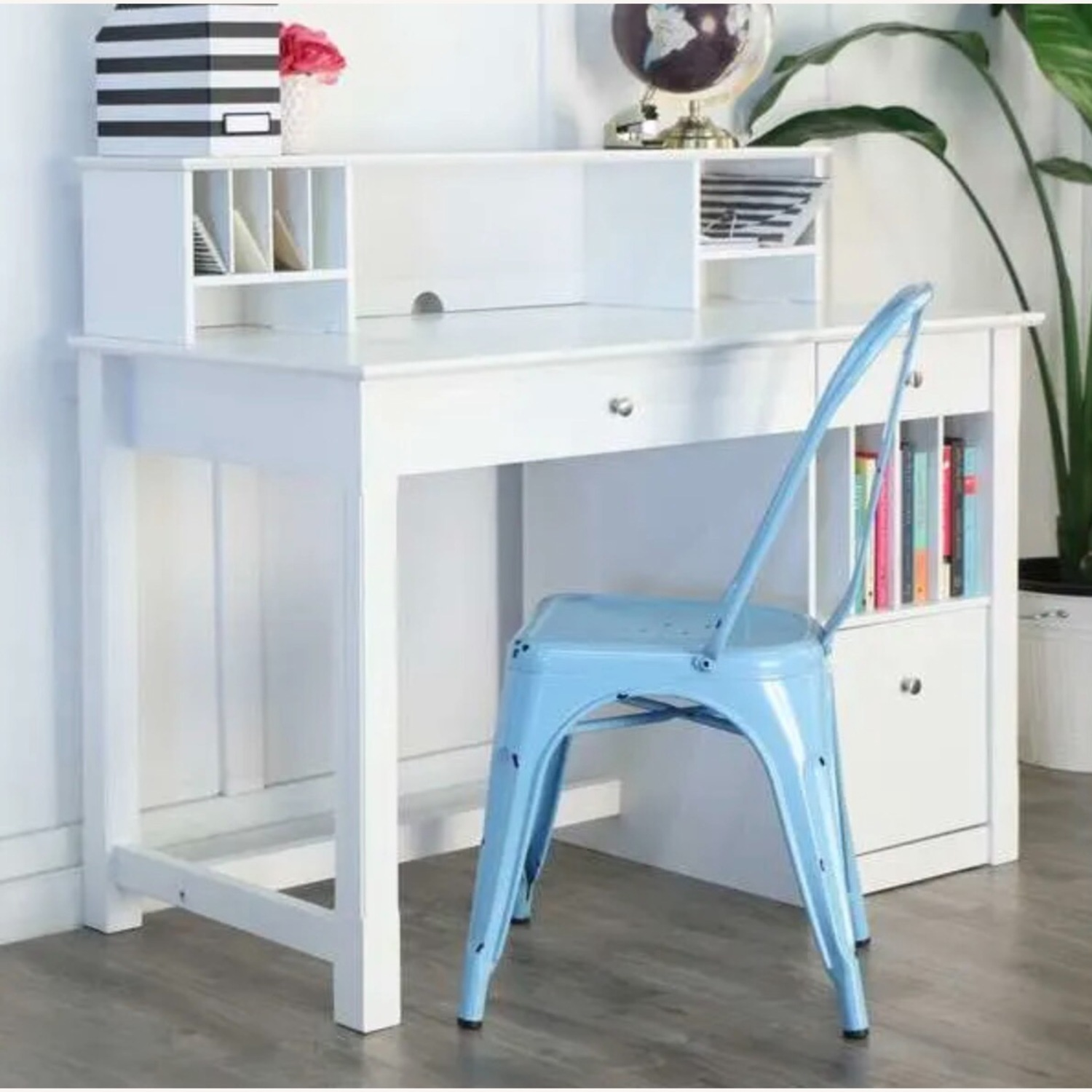 White Modern Wood Computer Desk with Hutch - image-11