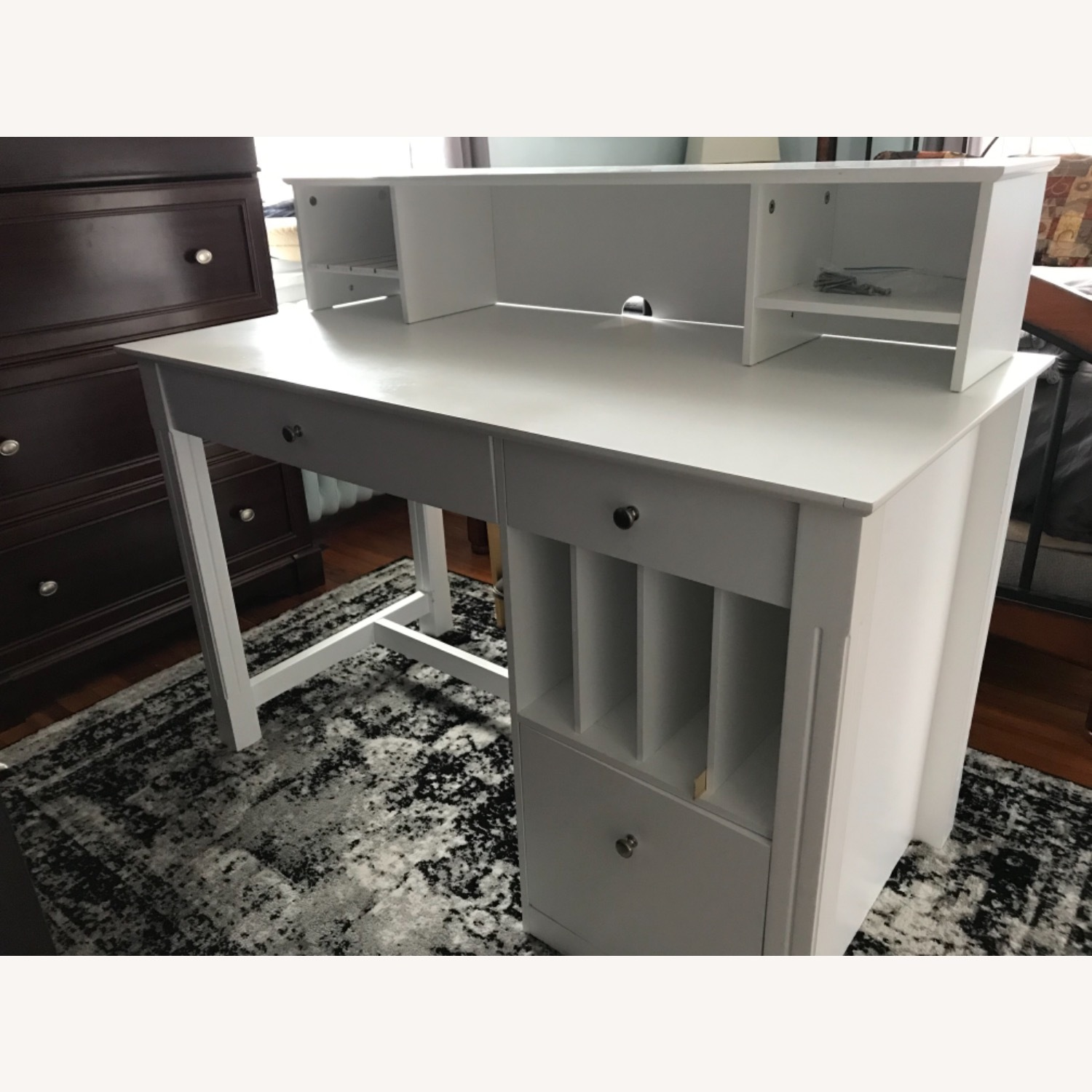 White Modern Wood Computer Desk with Hutch - image-10