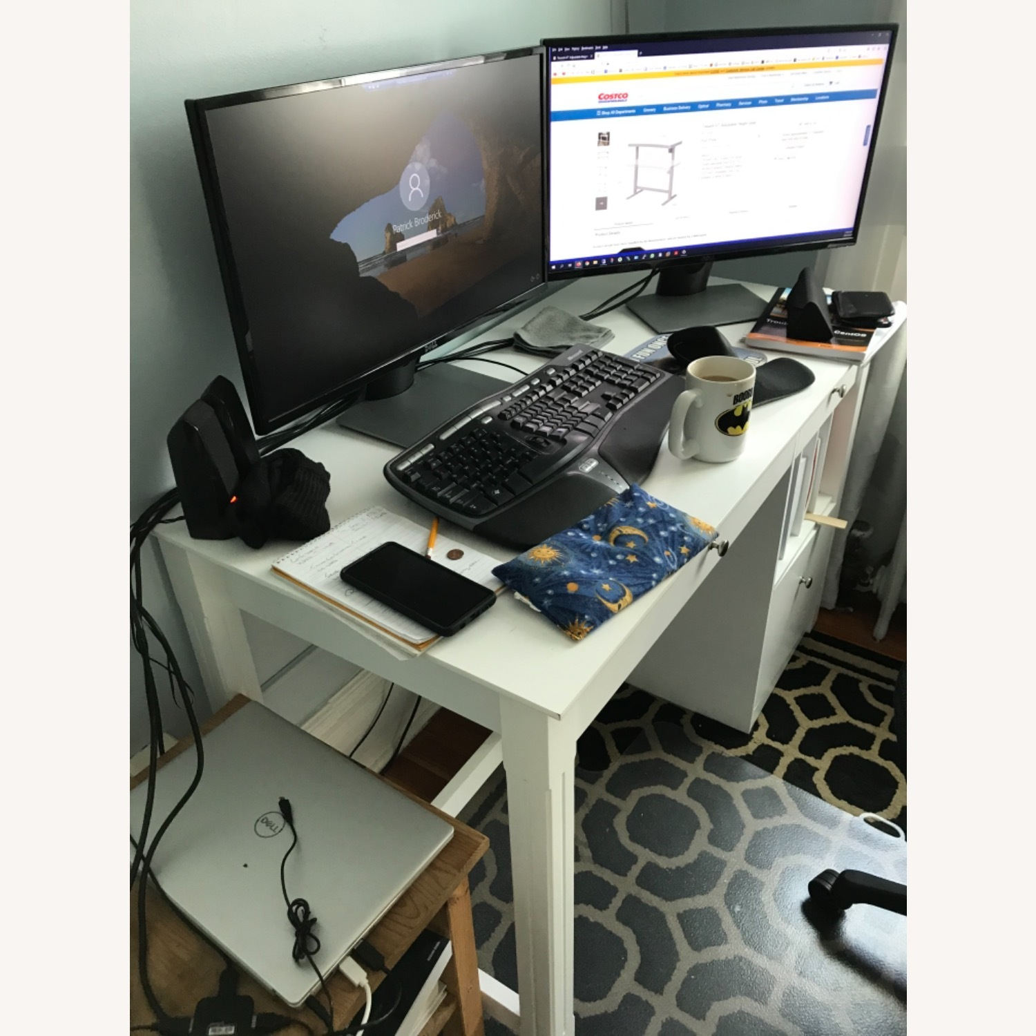 White Modern Wood Computer Desk with Hutch - image-8