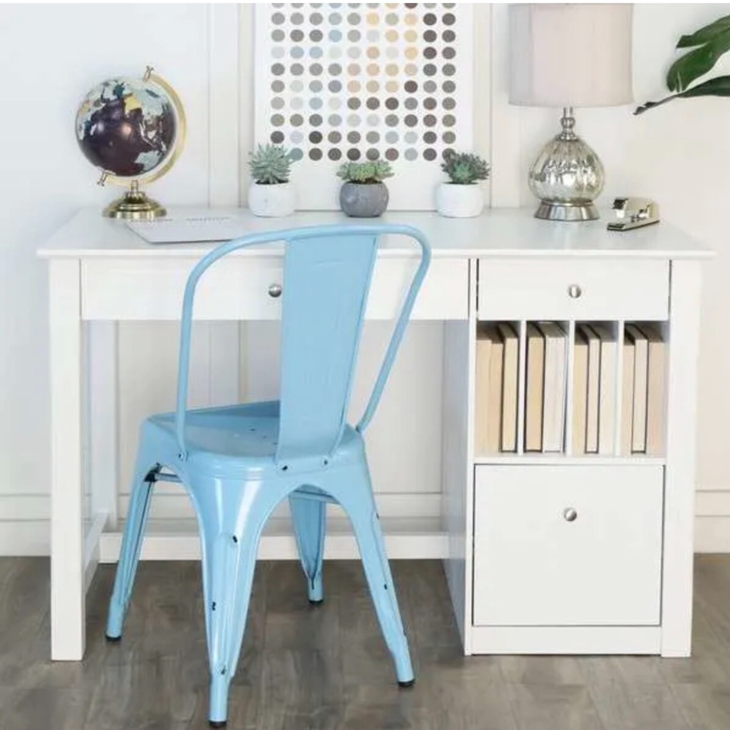 White Modern Wood Computer Desk with Hutch - image-13