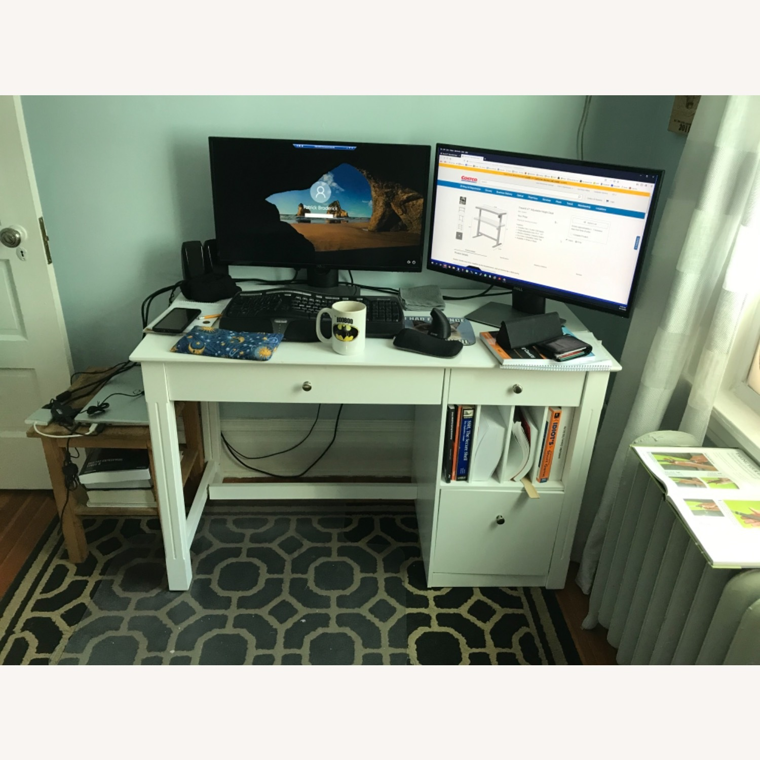 White Modern Wood Computer Desk with Hutch - image-7