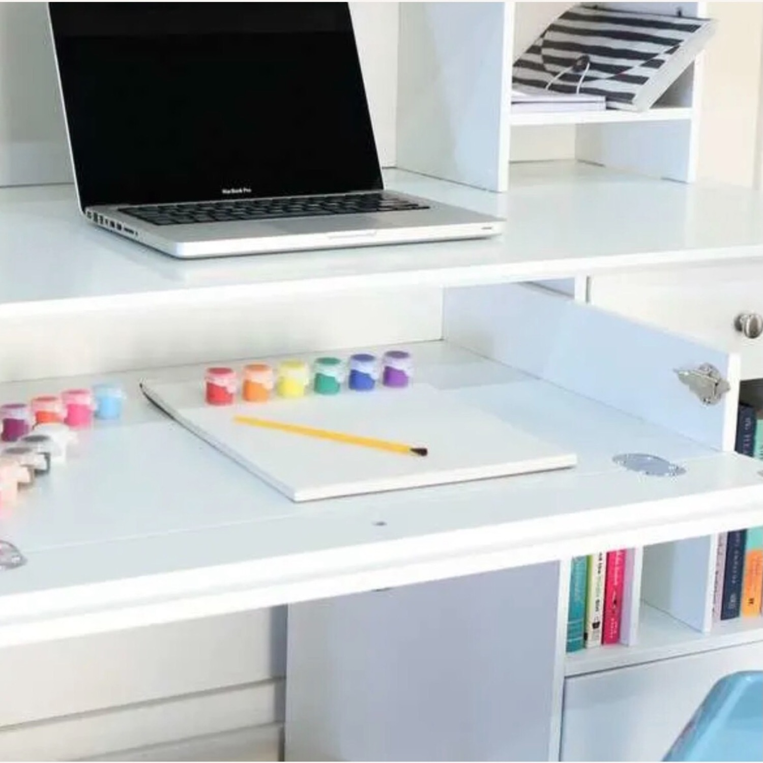 White Modern Wood Computer Desk with Hutch - image-12