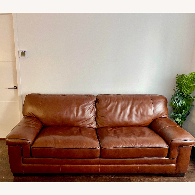 Macy's Leather Sofa - image-1