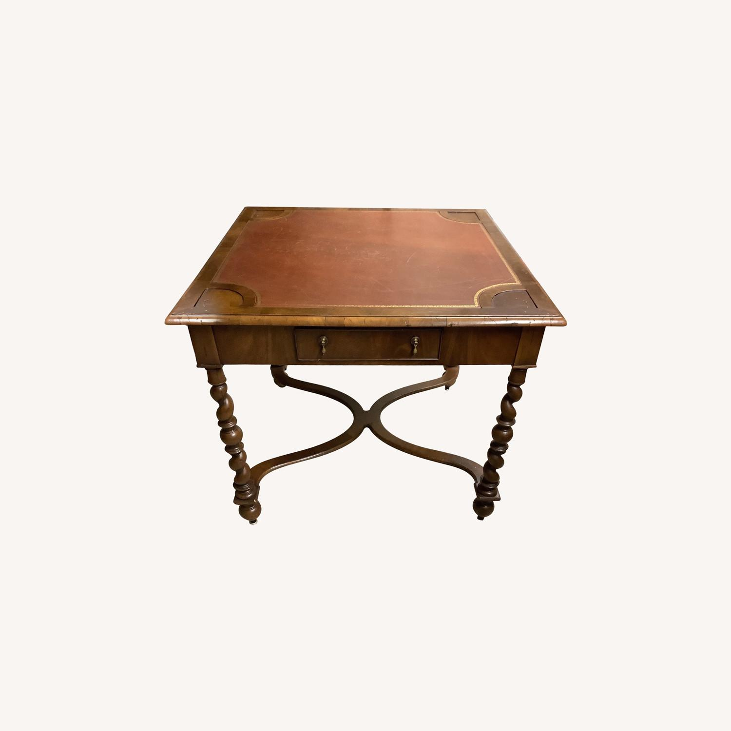 Square Game Table Leather Top and Wood Legs - image-0