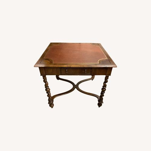 Used Square Game Table Leather Top and Wood Legs for sale on AptDeco