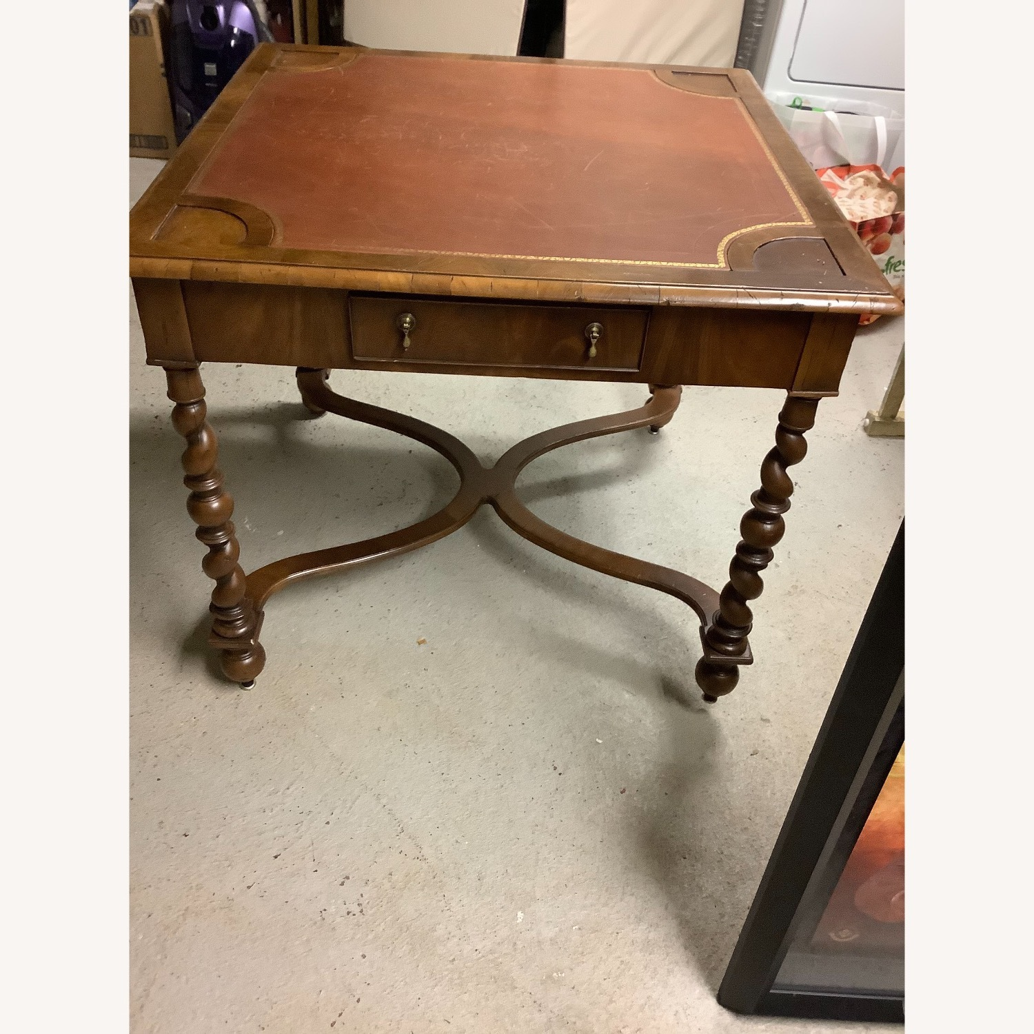 Square Game Table Leather Top and Wood Legs - image-3