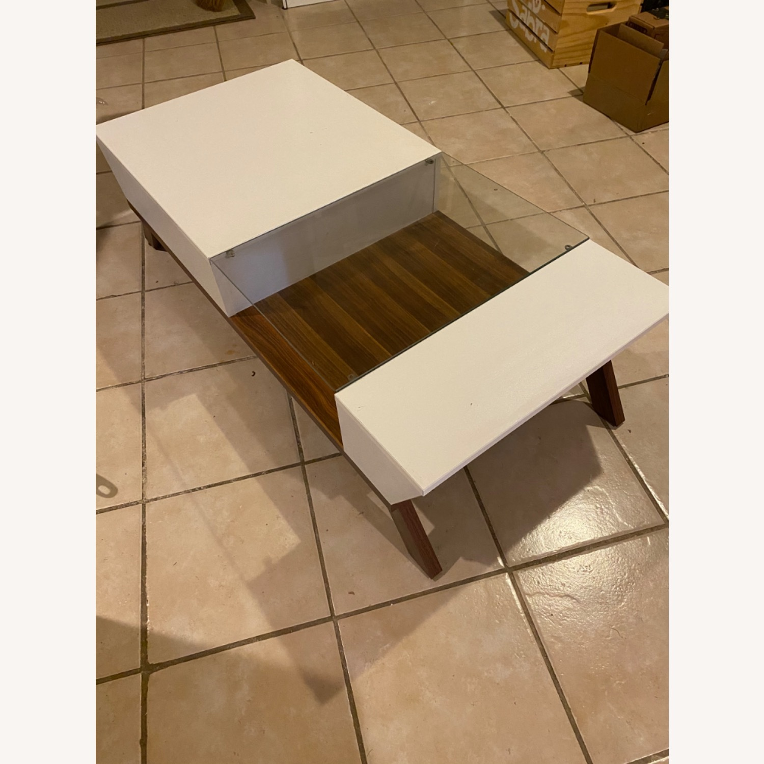 Mercury Row White and Brown Coffee Table - image-2