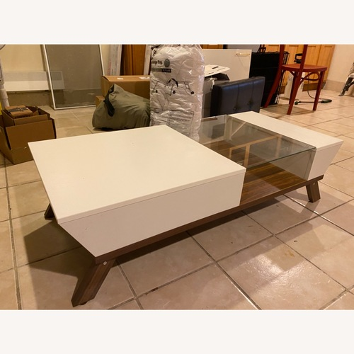 Used Mercury Row White and Brown Coffee Table for sale on AptDeco